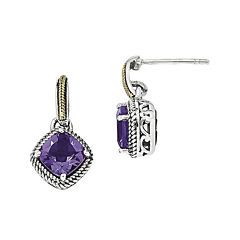 Shey Couture Sterling Silver with 14K Antiqued Amethyst Post Dangle Earring