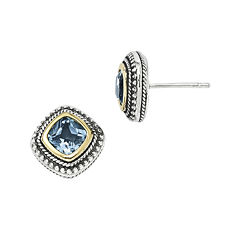 Shey Couture Genuine Blue Topaz Sterling Silver 14k Gold Earrings