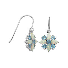 Genuine Swiss Blue Topaz and Lab-Created Opal Cluster Earrings