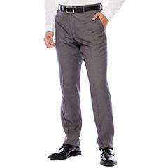 The Savile Row Company Birdseye Flat-Front Suit Pants - Slim Fit