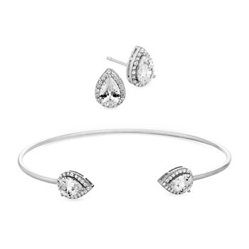 Diamonart 5 12 Ct Tw White Cubic Zirconia Sterling Silver Pear 2 pc Jewelry Set
