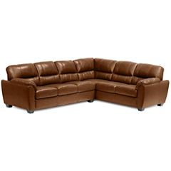 Leather Possibilities Pad-Arm 2-pc. Left-Arm Corner Sofa Sectional