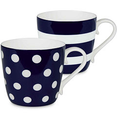 Konitz Dots and Stripes Set of 2 Bone China Mugs