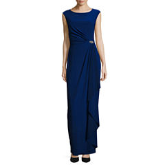 Jump Apparel Short Sleeve Embellished Evening Gown-Talls