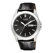 Citizen® Mens Black Dial Black Leather Strap Watch BF0580-06E