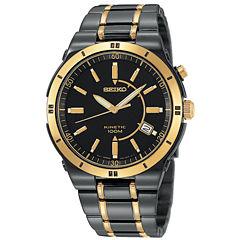 Seiko® Mens Kinetic Black & Gold-Tone TiCN Watch SKA366