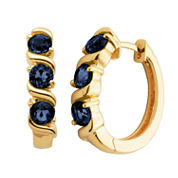 Sparkle Allure Black Sapphire Gold Over Brass Hoop Earrings