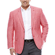 Stafford Linen Cotton Red Sport Coat-Big and Tall