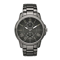 Geneva Mens Black Dial Gunmetal Bracelet Watch