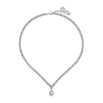 Silver Over Brass Cultured Freshwater Pearl And Cubic Zirconia Bridal Pendant Necklace