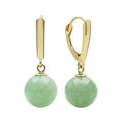Green Jade 14K Yellow Gold Earrings