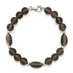Smoky Quartz Sterling Silver Bead Bracelet