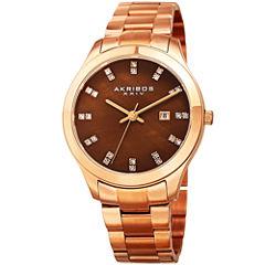 Akribos XXIV Womens Brown Bracelet Watch-A-954rgbr
