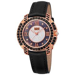 Burgi Womens Black Strap Watch-B-156bkr