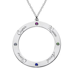 Personalized Birthstone and Name Sterling Silver Pendant Necklace