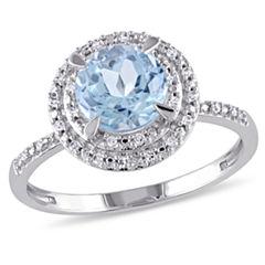 Womens Blue Topaz 10K Gold Engagement Ring