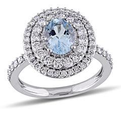 Womens Blue Aquamarine 14K Gold Engagement Ring