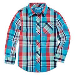 Arizona Boys Long Sleeve Button-Front Shirt - Preschool 4-7