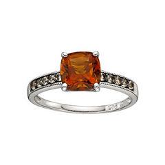 Sterling Silver Citrine Smoky Quartz Ring