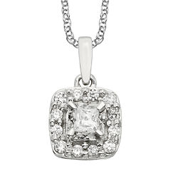 1/4 CT. T.W. Diamond 10K White Gold Square Framed Pendant Necklace