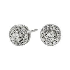 1/2 CT. T.W. Diamond 10K White Gold Round Framed Stud Earrings
