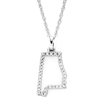 110 Ct Tw Diamond Sterling Silver Alabama State Pendant Necklace