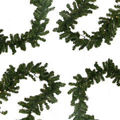 9 Ft. Pre-Lit Battery Operated Pine Artificial Christmas Garland with Warm Clear LED Lights