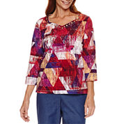 Alfred Dunner 3/4 Sleeve Sweetheart Neck Print Top