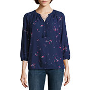 Liz Claiborne 3/4 Sleeve Peasant Top