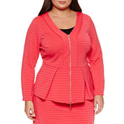 Bisou Bisou Long Sleeve  Ribbed Peplum Blazer-Plus