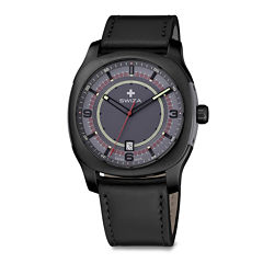 Swiza® Nowus Mens Black Leather Strap Watch