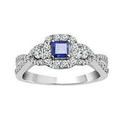 LIMITED QUANTITIES! 1 C.T. T.W. Color-Enhanced Princess-Cut Blue Diamond 10K Gold Engagement Ring