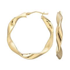 Made in Italy 14K Yellow Gold Wavy Hoop Earrings