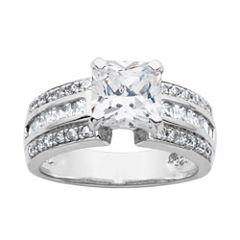 DiamonArt® Cubic Zirconia Sterling Silver Bridal Ring