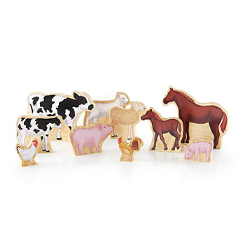 Guidecraft Wedgies 10 pc Farm Animals Toy Set