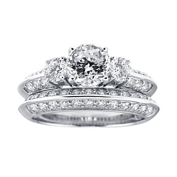 Diamonart Cubic Zirconia Sterling Silver 3 stone Bridal Ring Set