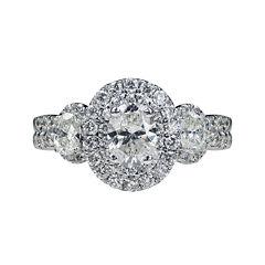 Modern Bride® Signature 1¾ CT. T.W. Diamond 14K White Gold Oval 3-Stone Bridal Ring