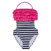 St. Tropez Girls Solid Cascade Navy Stripe With Pink Ruffle