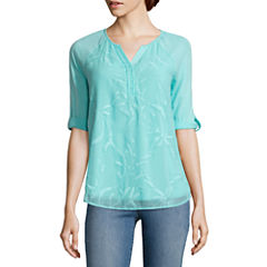 St. John's Bay Embroidered 3/4 Sleeve Roll Sleeve Floral Peasant Top