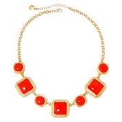 Monet® Gold-Tone Aqua Stone Collar Necklace