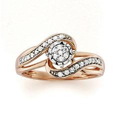 1/5 CT. T.W. Diamond 10K Rose Gold Promise Ring