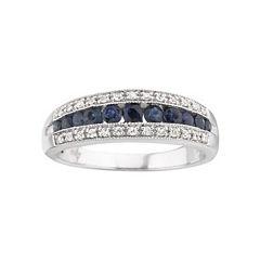 I Said Yes™ 1/8 CT. T.W. Certified Diamond & Sapphire Band