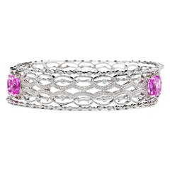 Lab-Created Pink Sapphire & Diamond-Accent 3-pc. Bangle Bracelet Set