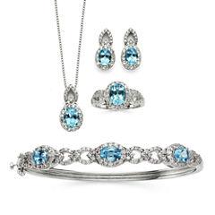 Genuine Blue Topaz & Cubic Zirconia Boxed 4-pc. Jewelry Set