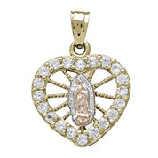 Tesoro™ Cubic Zirconia 14K Tri-Color Gold Our Lady of Guadalupe Heart Pendant