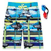 Zero Xposur® Shark-Wave Swim Trunks and Goggles Set - Boys 8-20