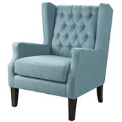 Riddle Button-Tufted Wing Chair