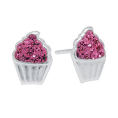 Pink Crystal Sterling Silver Cupcake Stud Earrings