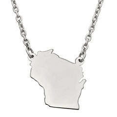 Personalized Sterling Silver Wisconsin Pendant Necklace