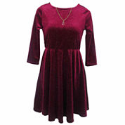 Lilt 3/4 Sleeve Skater Dress - Girls 7-16 and Plus